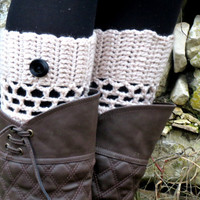 Tann Short Knit Boot Cuffs with black button. Short Leg Warmers. Crochet Boot Cuffs. Vanilla - tan Legwear