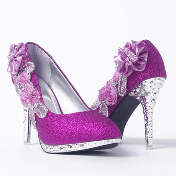 Gorgeous glitter with shimmering 3D flowers high heels ~ 6 colors!