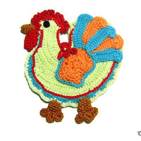 Colorful crochet rooster potholder, Presina gallo colorata ad uncinetto