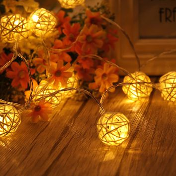 1.2M 10LED Warm White Muiti-Color Rattan Ball String Fairy Lights Outdoor Guirlande For Christmas