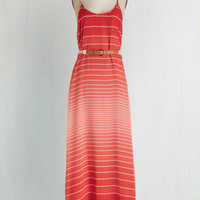 Long Spaghetti Straps Maxi Colorful Combo Dress in Ruby by ModCloth