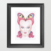 Peacock Butterfly Girl Framed Art Print by Drawings by LAM