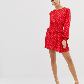Finders Keepers long sleeve flippy dress in ditsy print | ASOS