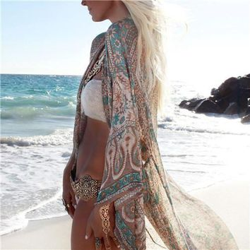 Boho Style Chiffon Beach Cover Up