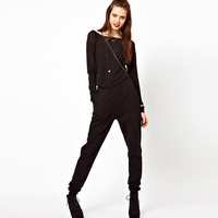 Black Off Shoulder Long Sleeves Jumpsuit