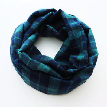 Navy Blue and Hunter Green Plaid Infinity Scarf- Flannel Winter Scarf