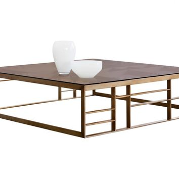 JOAN BRUSHED ANTIQUE BRASS STAINLESS STEEL WITH BROWN TEMPERED GLASS TOP SQUARE COFFEE TABLE