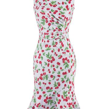 Streetstyle  Casual Cherry Printed Mermaid Bodycon Dress