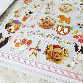 Dog party sticker fancy wedding dog farm animal dog deco sticker baby dog pet dog seal label parisian lovely dog diary sticker scrapbook