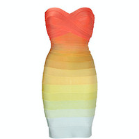 Becky Ombre Strapless Bandage Dress, Rainbow - LAST ONE!
