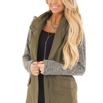 Olive Hooded Jacket with Grey Knit Contrast