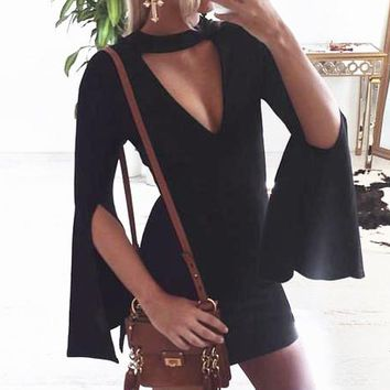 Fashionable black open Bell Sleeve V-neck sexy dress