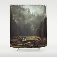 Foggy Forest Creek Shower Curtain by Kevin Russ