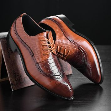 Men's Classic Bullock Leather Pointed Toe Shoes