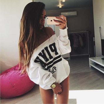 Women's Fashion Hot Sale Alphabet Print Hoodies [12225269395]