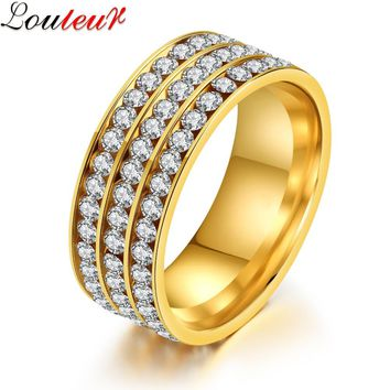 LOULEUR 2017 3 Row Lines Clear Crystal Ring for Men Women Jewelry Fashion Stainless Steel Engagement Wedding Bands Rings