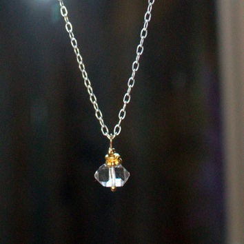 Herkimer Diamond Sterling Silver Chain Tiny Raw Crystal Necklace