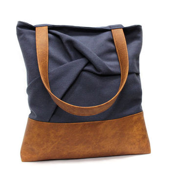Blue Tote Bag, Vegan Leather Tote,Casual Canvas Bag,Blue Shoulder Bag,Large Shopper Bag,Pleated Market Bag,Blue Brown Handbag,Large Tote Bag
