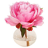 "7"" Peony in Bubble Vase, Pink"