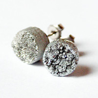 Boho Earrings - Silver  Moon - Silver Raw Druzy Round Quartz Agate Stud Earrings - Circle, Post, Jewelry, Hippie, Hipster