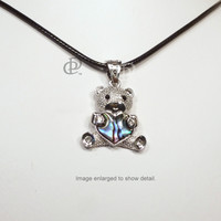 Silver Tone Teddy Bear Paua Abalone Shell Pendant Necklace Cord