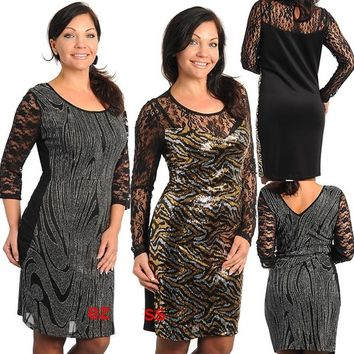 Womens PLus Size Dress Black Long Sleeves Sheer Mesh Lace Club Party Dress 1X-3X