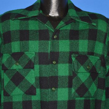 50s Towncraft Buffalo Plaid Wool shirt Medium