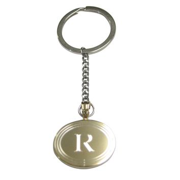 Gold Toned Etched Oval Letter R Monogram Pendant Keychain