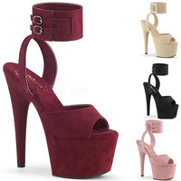 """Adore 791 Pink Vegan Suede 7"""" High Heel Platform Shoe With Ankle Cuff 5-10"""