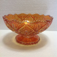 "Vintage 1960s Mid Century Imperial Glass ""Fancy Flowers"" Marigold Carnival Glass Footed Bowl"