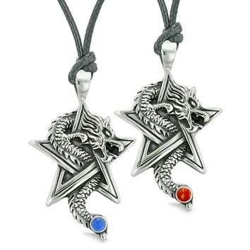 Courage Dragons Star Pentacle Amulet Couples Best Friends Set Jasper Simulated Cats Eye Necklaces