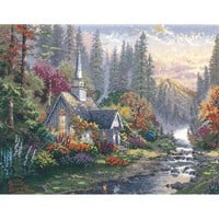 M C G Textiles Thomas Kinkade Forest Chapel Counted Cross Stitch Kit, 14-Inch by 11-Inch, 14 Count