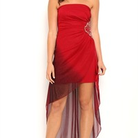 Dress with Flyaway Skirt and Stone Side