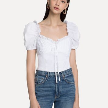 Bella White Frill Bustier Top