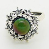 Sterling Silver Flowers 10mm Mood Stone Ring, adjustable