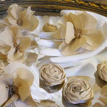 Set of 20, Handmade Beige Cotton Fabric Flowers for weddings, diy bouquet making, hair pieces, centerpieces and more.