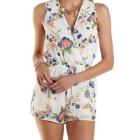 Sleeveless Floral Print Wrap Romper by Charlotte Russe