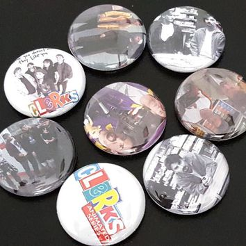 """8 Clerks 1"""" Buttons/Pinbacks/Badges Kevin Smith Dante Randal Jay Silent Bob Movies Culture Rare"""