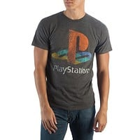 Sony Playstation Logo on Charcoal T-Shirt