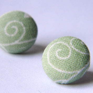 Button Earrings Floral GreenWhite by PushTheButtons on Etsy
