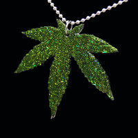 Hemp Leaf Hanging Necklace - Marijuana - Weed - Pot - Resin Necklace