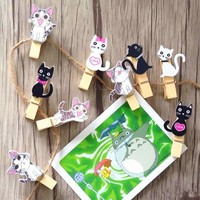 packs  Kawaii  design  wooden  clips  Students    tools