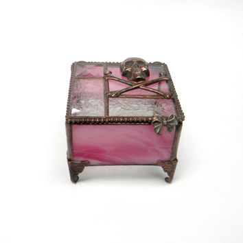 Pink Skull And Crossbones Jewelry Box, Keepsake Box, Stained Glass Box, Glass Box, Gift for Girl 3 x 3""