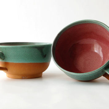 Turquoise & Red Bowl / Soup Bowl / Artistic Gift