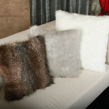 """Handmade Faux Fur Gray Racoon Sqaure Cushion Covers Pillow Shells Cases 18"""" X 18"""" Made to Order -Free Fedex Delivery-"""