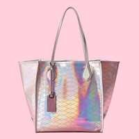 Shop | Bellport Tote | Holographic Silver | Extra-special, our limited edition Holographic Bellport Tote is a holiday...