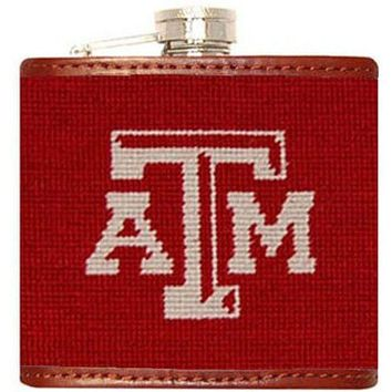 Texas A & M University Needlepoint Flask in Maroon by Smathers & Branson