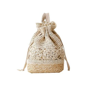 Crochet Beach Backpacks Summer Straw Bags Drawstring Floral Hollow Out Handmade Knitted Travel Bucket Design Women Sac A Dos L59