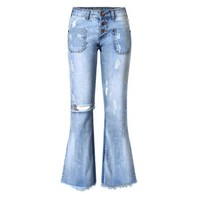 Wide leg bell bottom jeans with distressed look
