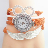 Angel's Wing Rhinestone Infinity Quartz Watch with Woven Plait Straps